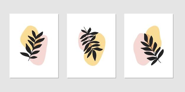 Conjunto de ilustración plana. forma abstracta con planta aislada. estilo escandinavo.