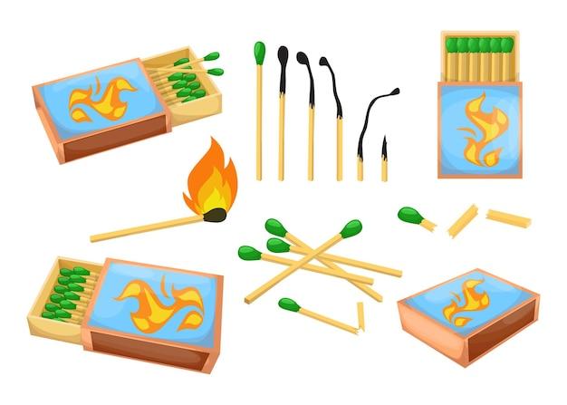Conjunto de ilustración plana de fósforos y cajas de fósforos de colores