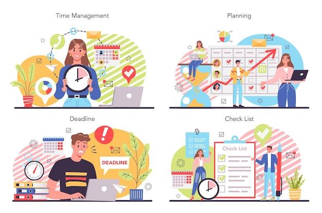Conjunto de ilustración de planificación empresarial