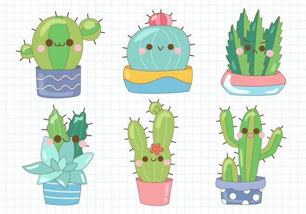 Conjunto de ilustración de planta de cactus suculento pastel lindo