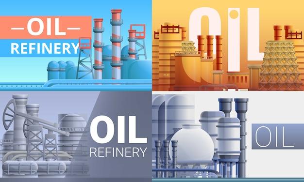 Conjunto de ilustración de planta de refinería, estilo de dibujos animados