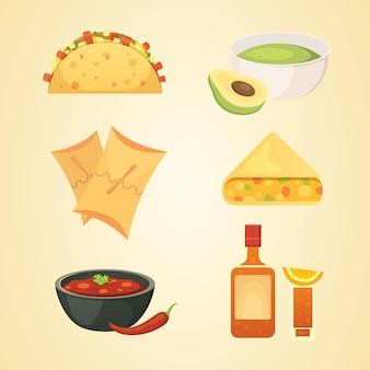 Conjunto de ilustración de platos de dibujos animados de cocina mexicana