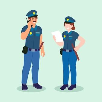 Conjunto de ilustración policial