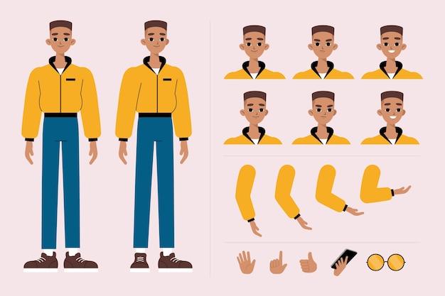 Conjunto de ilustración de poses de personaje masculino