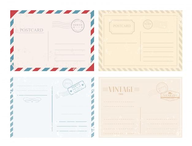 Conjunto de ilustración de postales con sellos en diseño retro vintage en colores pastel sobre fondo blanco.
