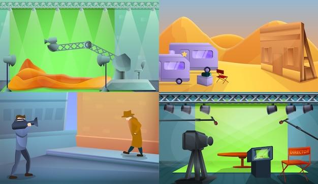 Conjunto de ilustración de producción de película, estilo de dibujos animados