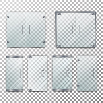 Conjunto de ilustración de puerta transparente de vidrio
