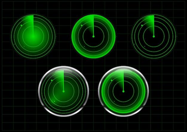 Conjunto de ilustración de radar verde