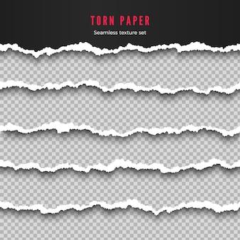 Conjunto de ilustración de rayas de borde de papel rasgado transparente