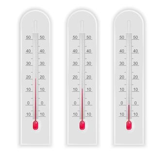 Conjunto de ilustración realista 3d de termómetros aislados en blanco.