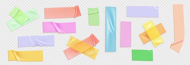 Conjunto de ilustración realista de cinta de colores