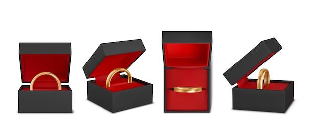 Conjunto de ilustración realista de hermosos anillos de boda