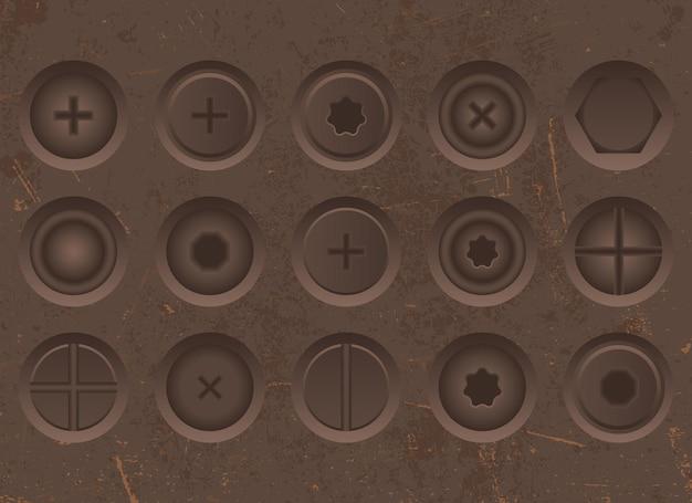 Conjunto de ilustración realista de tornillos de hierro