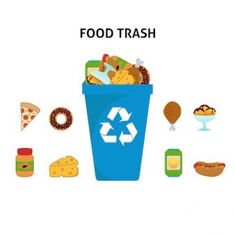 Conjunto de ilustración de reciclaje de basura de alimentos