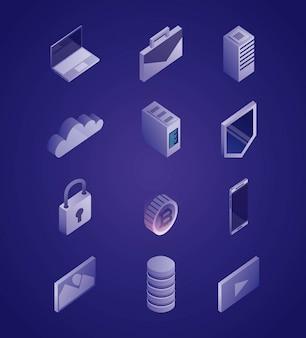 Conjunto de ilustración de red de datos