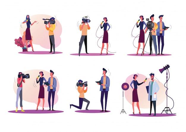 Conjunto de ilustración de reporteros