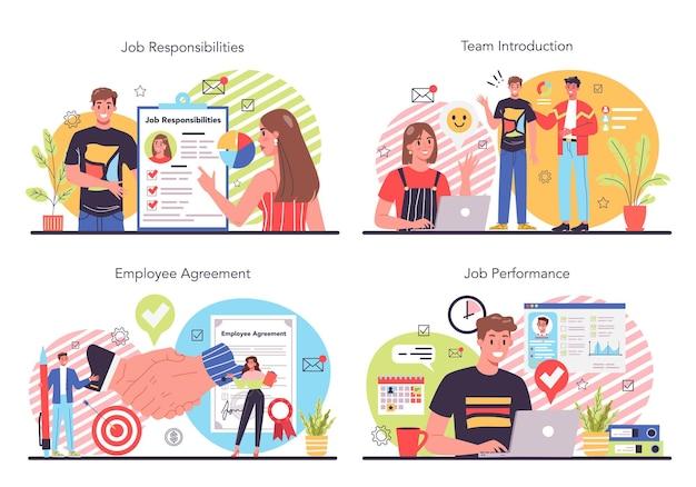 Conjunto de ilustración de responsabilidades de trabajador