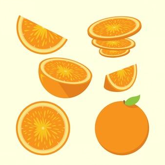 Conjunto de ilustración de rodajas de naranja