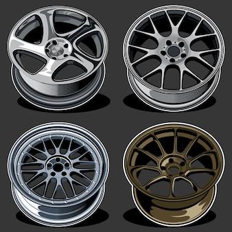 Conjunto de ilustración de ruedas de coche