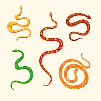 Conjunto de ilustración de serpiente aislado.