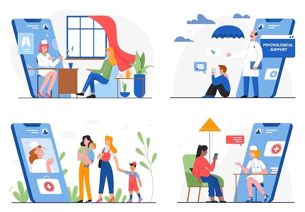 Conjunto de ilustración de servicio en línea de medicina sanitaria, médico y paciente.