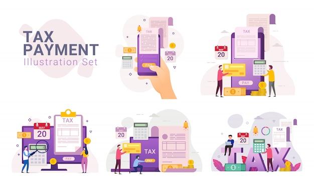 Conjunto de ilustración de servicio de pago de impuestos en línea