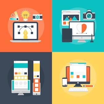 Conjunto de ilustración de servicios de desarrollo de diseño