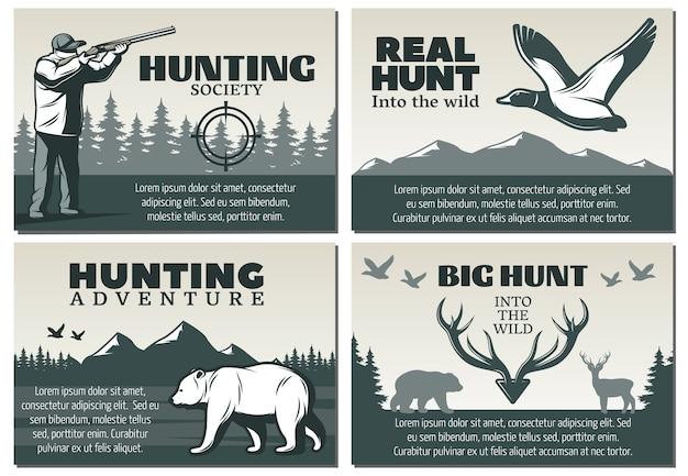 Conjunto de ilustración de la sociedad de caza