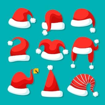 Conjunto de ilustración de sombrero de santa de diseño plano
