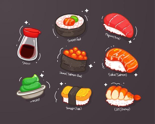 Conjunto de ilustración de sorteo de mano de dibujos animados de sushi
