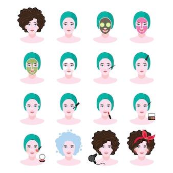 Un conjunto de ilustración de spa y tratamiento facial en el estilo plano