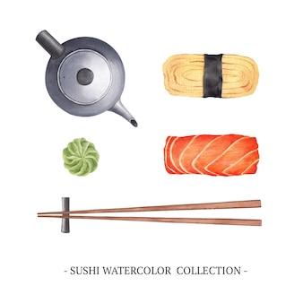 Conjunto de ilustración de sushi acuarela aislado sobre fondo blanco.