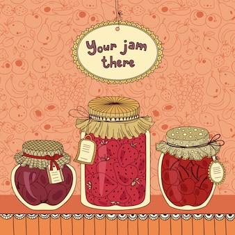 Conjunto de ilustración de tarro de mermelada
