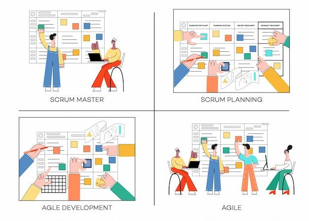 Conjunto de ilustración de la técnica de planificación scrum del trabajo en equipo en el desarrollo de software