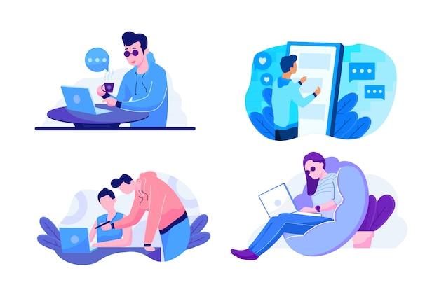 Conjunto de ilustración de tecnología y trabajo para la página de inicio