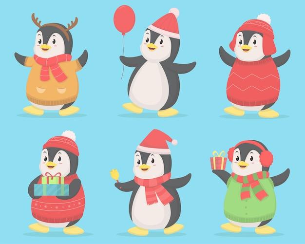 Conjunto de ilustración de tema de navidad lindo pingüino