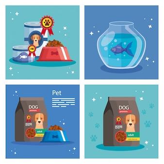 Conjunto de ilustración de tienda de mascotas con elementos
