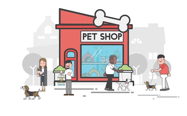 Conjunto de ilustración de tienda de mascotas