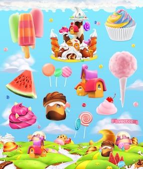 Conjunto de ilustración de tierra de dulces dulces