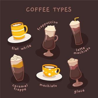 Conjunto de ilustración de tipos de café