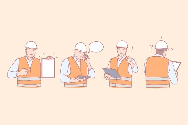 Conjunto de ilustración de trabajador de ingeniero de construcción