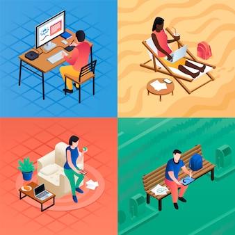 Conjunto de ilustración de trabajo distante. conjunto isométrico de trabajo a distancia.