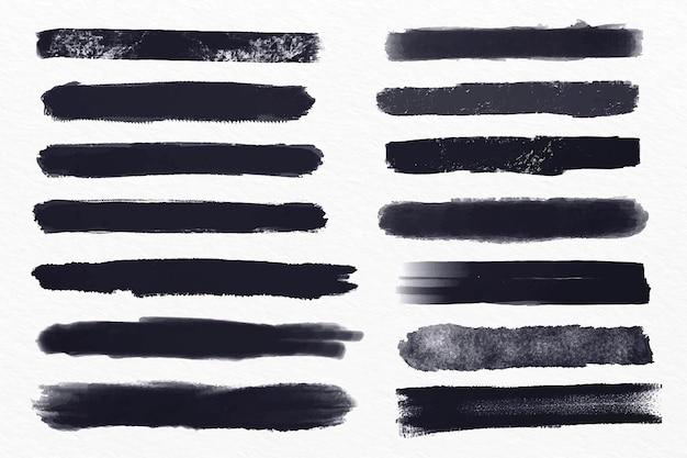 Conjunto de ilustración de trazo de pincel de tinta