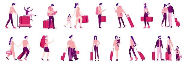 Conjunto de ilustración de turista con equipaje y bolso. viaje familiar, empresario con maleta. colección de personajes en su viaje, vacaciones familiares o viaje de negocios