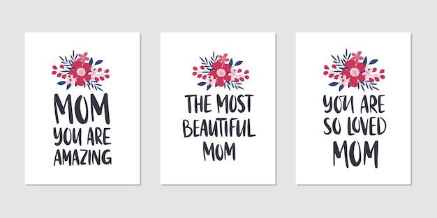 Conjunto de ilustración de vacaciones del día de la madre. tarjeta de felicitación. diseño de letras dibujadas a mano
