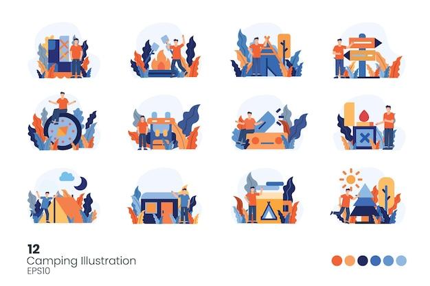 Conjunto de ilustración de vacaciones para mochileros y camping sin rostro joven. hombres de pie con gestos. ilustración de vector aislado estilo plano