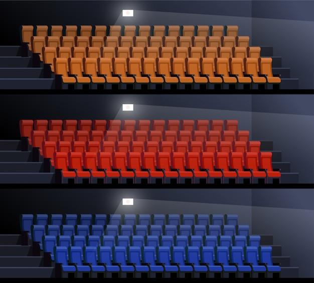 Conjunto de la ilustración vacía del vector de los cines. asientos vacíos en palacio de cuadros. interior del cine