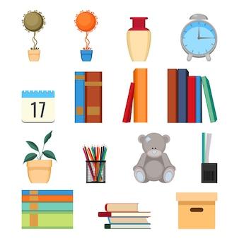 Conjunto de ilustración de vector de accesorios de oficina. libros apilados, carpetas, plantas decorativas en macetas, relojes y juguetes, libros de texto y documentos