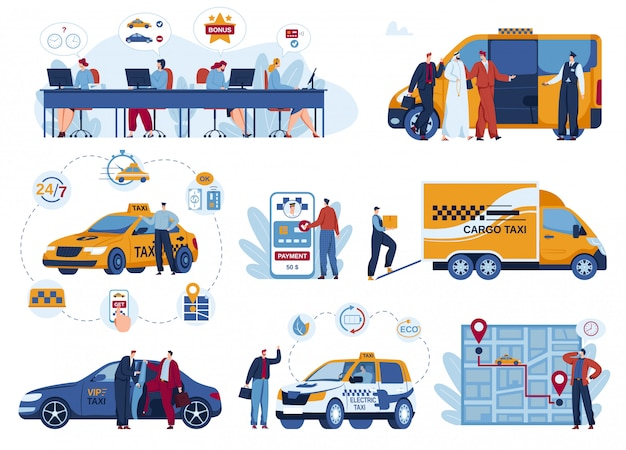 Conjunto de ilustración de vector de aplicación de entrega de coche de taxi.