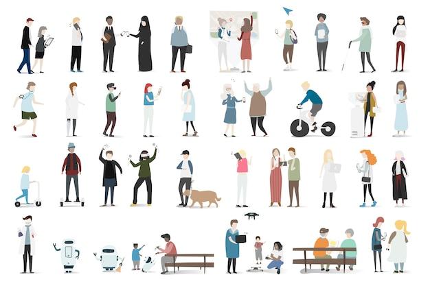 Conjunto de ilustración de vector avatar humano